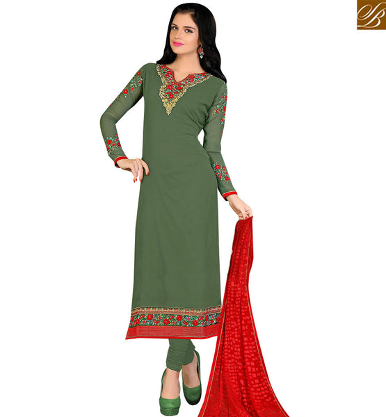 STYLISH BAZAAR GORGEOUS GREEN COLORED REGULAR WEAR SALWAR KAMEEZ VDKRT10857