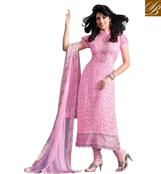 SUPERB SPECIAL OCCASION WEAR LIGHT PINK PURE CHIFFON SALWAR KAMEEZ
