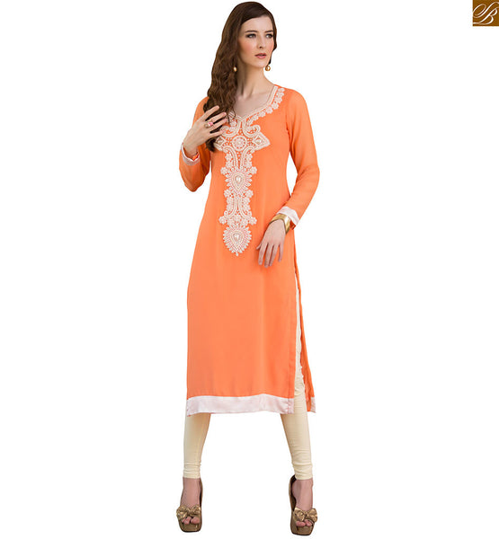 Long kurtis pakistani style design on neck back and sleeves orange pure viscose georgette stone moti patch work at neck line on kurti with border work on lower part Image