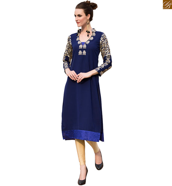 Designer long kurtis pakistani designer wear for  smart look navy-blue pure viscose georgette three fourth type heavy embroidered sleeves kurti with border line Image