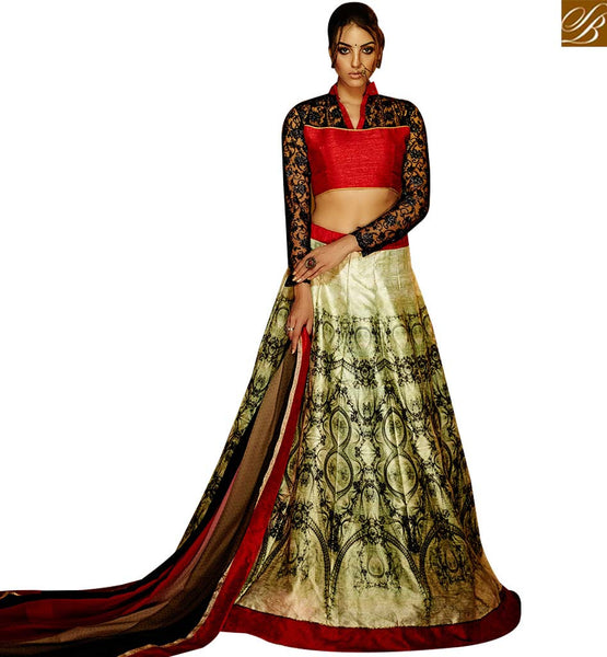 STYLISH BAZAAR EXTRAORDINARY RED & CREAM COLORED DIGITAL PRINTED LEHENGA CHOLI VDKLR10882