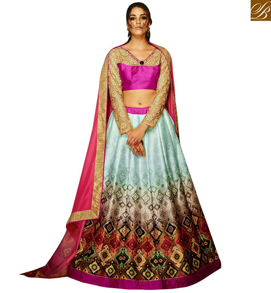 STYLISH BAZAAR RICH LOOKING SKY BLUE & PINK COLORED BANGLORI SILK DIGITAL PRINTED LEHENGA CHOLI VDKLR10883