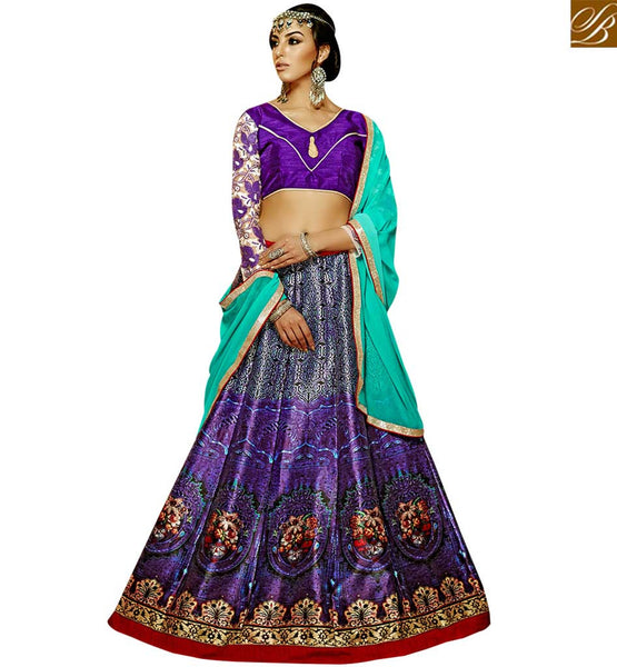 STYLISH BAZAAR ATTRACTIVE PURPLE COLORED DIGITAL PRINTED DESIGNER LEHENGA CHOLI VDKLR10884