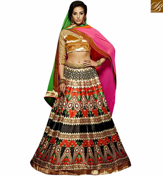 STYLISH BAZAAR BEAUTIFUL MULTI COLORED DESIGNERS LEHENGA CHOLI VDKLR10886