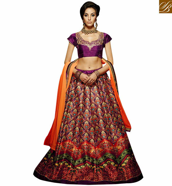 STYLISH BAZAAR ULTIMATE PURPLE COLORED DESIGNER LEHENGA CHOLI WITH SPLENDID DIGITAL PRINT VDKLR10887