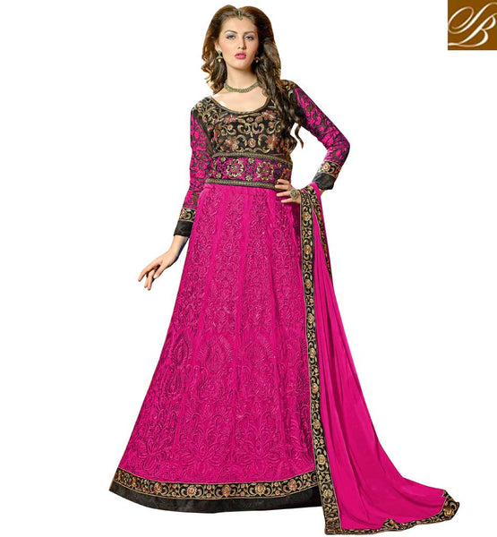 ANARKALI OR LEHENGA CHOLI PINK BLACK NET FUSION DRESS WITH DUPATTA
