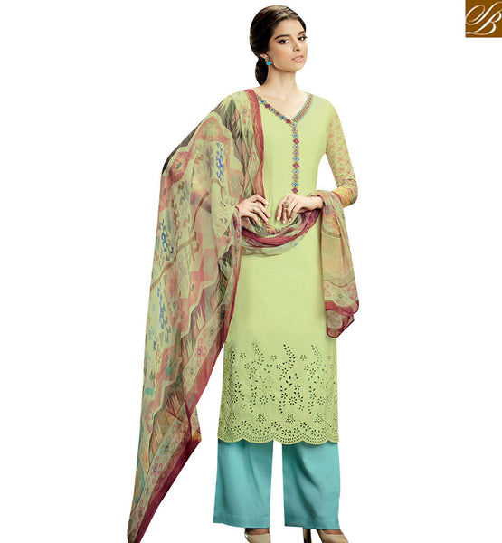 STYLISH BAZAAR STUNNING LIGHT GREEN COLORED SUIT WITH MULTI COLOR DUPATTA KMV108
