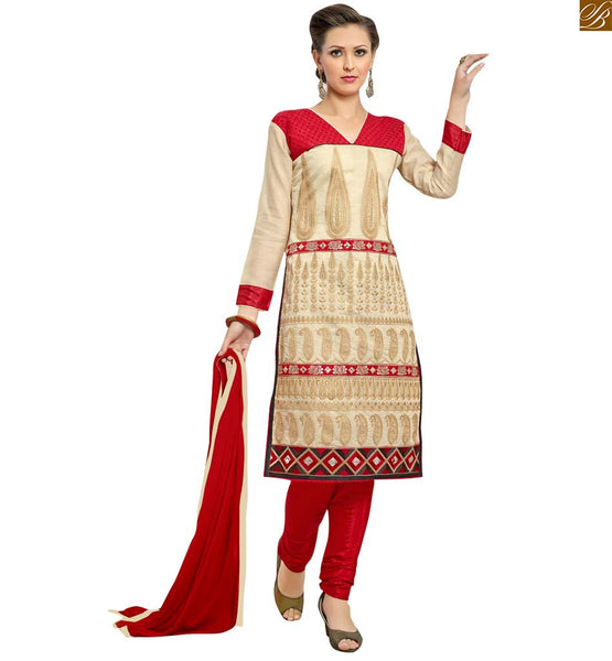 Cream colored casual straight salwar kameez cream chanderi kerry style and floral embroidered salwar kameez. This dress looking awesome with v cut neck design Image