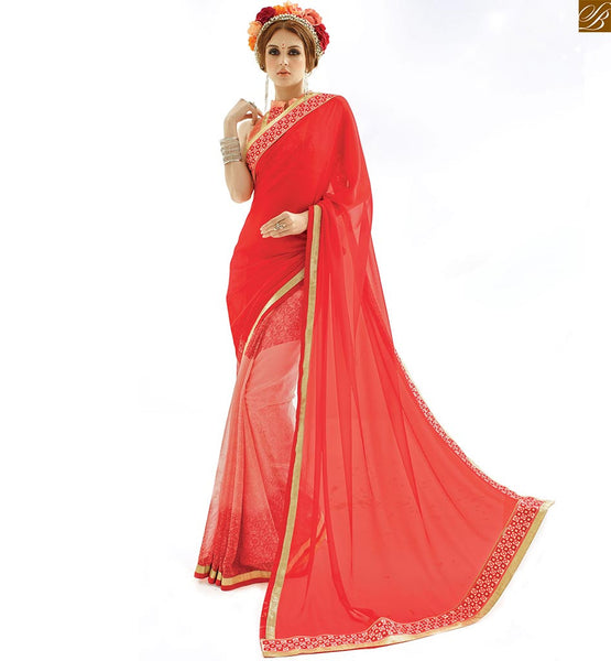 Half saree patterns looking nice with latest designer blouse patterns red georgette amazing indian printed casual saree with new trendy peach art silk blouse