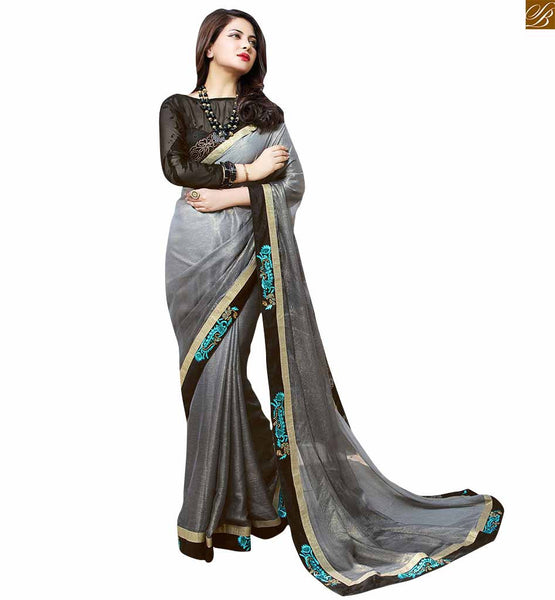 PHOTO OF DESIGNER CHIFFON SAREES COLLECTION WITH STYLISH BLOUSE DESIGN | SHADED GREY SAREE SPECIALLY PICKED FROM OUR DESIGNER CHIFFON SAREES COLLECTION WITH RICH COMBINATION OF BLACK STYLISH BLOUSE DESIGN