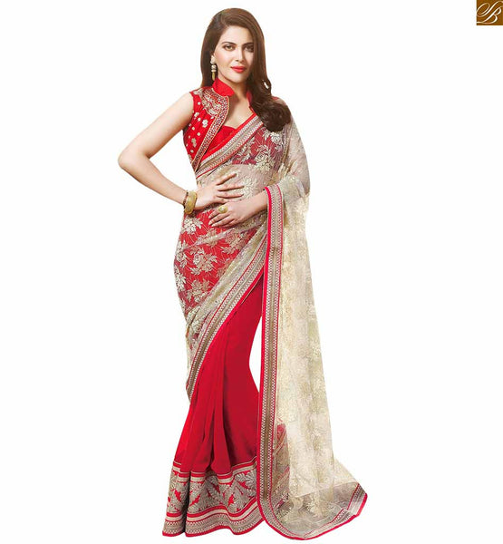 DESIGNER HALF SAREE COLLECTIONS WITH STYLISH BLOUSE PATTERNS 2015 | SUPERB COMBINATION OF RED AND OFF-WHITE COLOR ALONG WITH ANOTHER COMBINATION OF GEORGETTE AND NET FABRIC. IN ADDITION TO THAT MACHINE EMBROIDERY ON BORDER AND PALLU HAS ENHANCED THE BEAUTY SAREE BLOUSE  ADD ON GLAMOUR WITH EMBROIDERY HIGH COLLAR AND CUTE SHAPE OF SLEEVE