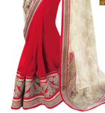 BEST OUT OF TOP  DESIGNER HALF SAREE COLLECTIONS OF FASHION TREND OF NEXT GENERATION WITH TRENDY LOOKING STYLISH SLEEVELESS AND COLLARED  BLOUSE PATTERNS 2015 BEST PRODUCT  SUPERB COMBINATION OF RED AND OFF-WHITE COLOR ALONG WITH ANOTHER COMBINATION OF GEORGETTE AND NET FABRIC. IN ADDITION TO THAT MACHINE EMBROIDERY ON BORDER AND PALLU HAS ENHANCED THE BEAUTY SAREE