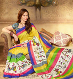 YELLOW ART-SILK CASUAL WEAR ESHA DEOL SAREE RTMS10910