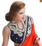 FANCY PARTY WEAR DESIGNER SAREES NEW STYLE  AND STYLISH BLOUSE ONLY ON ONLINE REDUCED LOW PRICE BELOW RUPEES 3000  HEAVY EMBROIDERED WITH BUTTA AND LACE BORDER ON GEORGETTE  SAREE PAIRED WITH ROYAL BLUE VELVET TRENDY BLOUSE