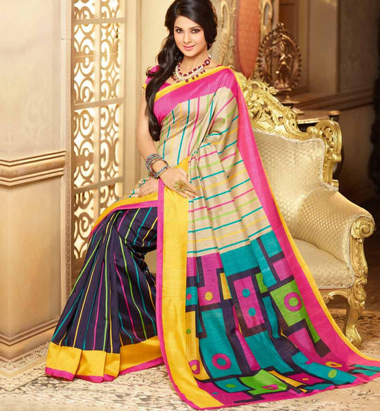 CREAM & BLACK ART-SILK CASUAL WEAR SAREE RTMS10911