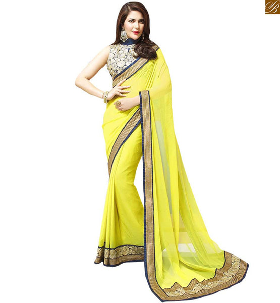 IMAGE OF STYLISH BLOUSE COLLAR NECK DESIGNS WITH CHIFFON SAREES COLLECTION