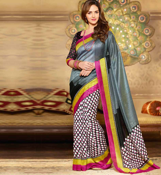 GREY & BLACK ART-SILK CASUAL WEAR ESHA DEOL SAREE RTMS10912