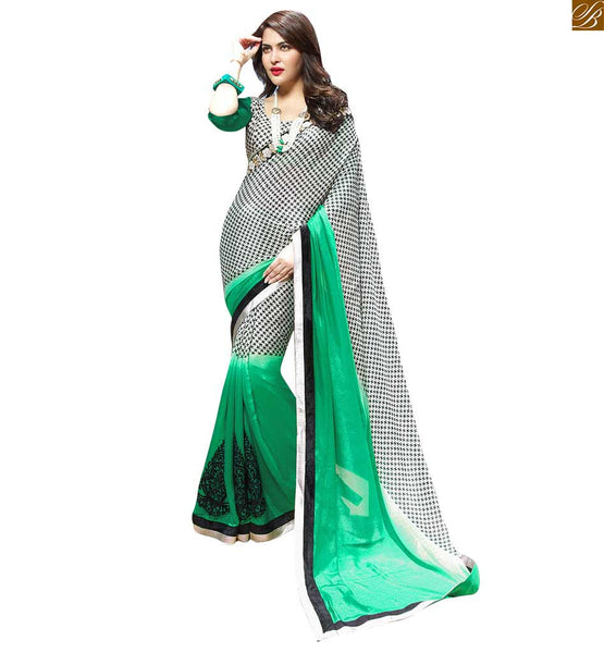 GEORGETTE SAREE AND STYLISH BLOUSE  PATTERNS FOR FASHIONISTA LADIES, AMAZING LACE BORDERED PARTY-WEAR GEORGETTE SAREE WITH  MATCHING STYLISH BLOUSE PATTERNS FOR FASHIONISTA LADIES
