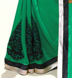 SHADED GREEN AND WHITE HORIZONTAL HALF AND HALF COMBINATION WITH EMBROIDERED WORK ON LOWER PART, A NEW INVENTION IN SAREE BLOUSE DESIGNING | GEORGETTE SAREE AND STYLISH BLOUSE  PATTERNS FOR FASHIONISTA LADIES,