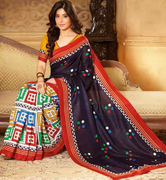 BLACK ART-SILK CASUAL WEAR SAREE RTMS10913
