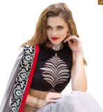 INDIAN PARTY WEAR SAREE BLOUSE DESIGNS FOR FASHION LOVING STYLISH WOMEN  ONLINE INDIA   DESIGNER GREY CREPE-SATIN PARTY WEAR SAREE WITH RED AND BLACK  LACE BORDER PAIRED WITH  BLACK VELVET DESIGNER BLOUSE