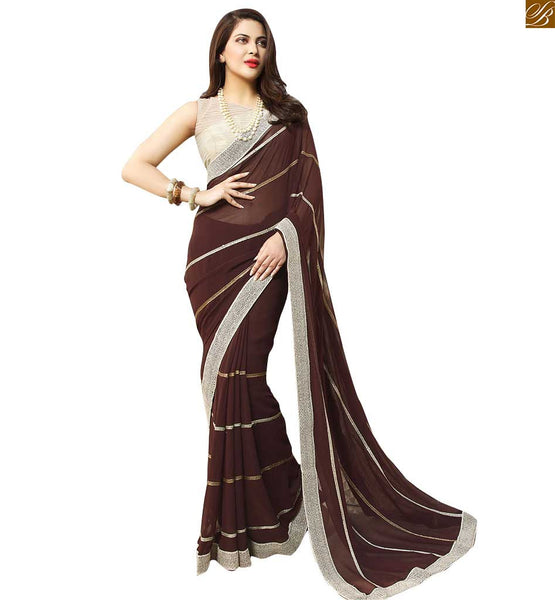 STYLISH PARTY WEAR SAREE BLOUSE DESIGNS FOR SMART TEEN GIRLS, HI-FASHION STYLISH PARTY WEAR SAREE BLOUSE DESIGNS FOR SLIM LOOK.COFFEE BROWN LACE BORDERED GEORGETTE SAREE WITH WHITE NET BLOUSE