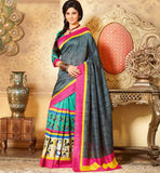 GREY & GREEN ART-SILK CASUAL WEAR SAREE RTMS10916