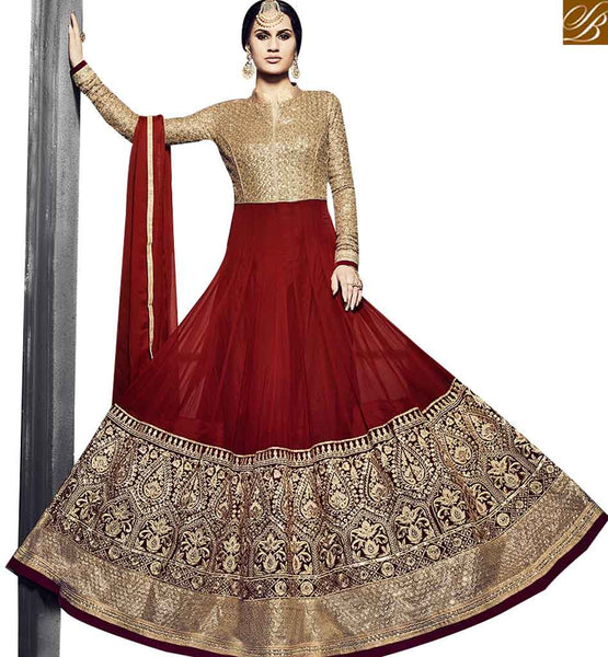 STYLISH BAZAAR ULTIMATE RED COLORED ANRKALI SUIT WITH BEAUTIFUL EMBROIDERY WORK VDSKN10917