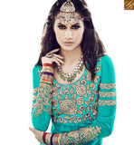 FROM THE HOUSE OF STYLISH BAZAAR BREATHTAKING RAMA COLORED ANARKALI SUIT WITH ATTRACTIVE EMBROIDERY WORK VDSKN10918