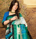 CREAM & GREEN ART-SILK CASUAL WEAR SAREE RTMS10918A