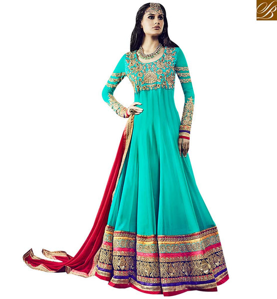 STYLISH BAZAAR BREATHTAKING RAMA COLORED ANARKALI SUIT WITH ATTRACTIVE EMBROIDERY WORK VDSKN10918
