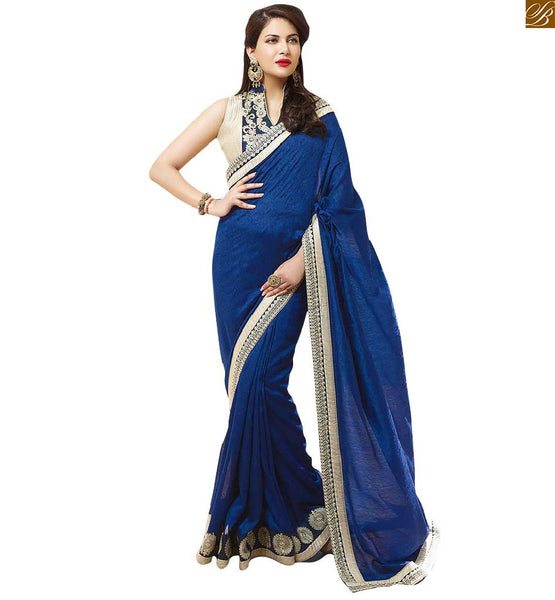 INDIAN BLOUSE DESIGNS SMART COMBINATION OF DESIGNER SAREES ONLINE SHOPPING, ROYAL BLUE  FAUX GEORGETTE JACQUARD SAREE SUPERB COMBINATION WITH STUNNING DESIGN OF JACKET TYPE BLOUSE