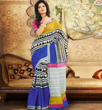 BLUE & OFF WHITE ART-SILK CASUAL WEAR SAREE RTMS10919