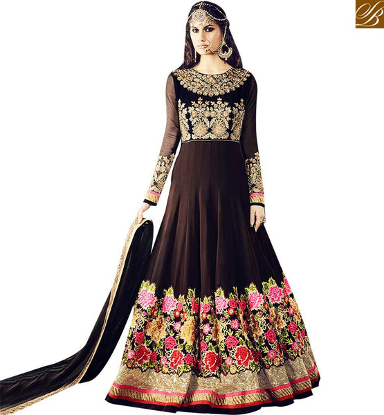 STYLISH BAZAAR BLOOMING BROWN COLORED ANARKALI SUIT WITH FLORAL WORK VDSKN10919