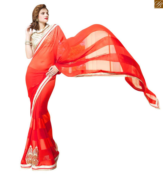 GEORGETTE DESIGNER SAREES AND INDIAN BLOUSE DESIGNS OF 2015, BEAUTIFUL BUTTA AND LACE ON LOWER END OF RED GEORGETTE SAREE WITH SELF DESIGN OF SATIN PATTA IN WEVING  PAIRED WITH EXTRA-ORDINARY INDIAN BLOUSE DESIGN
