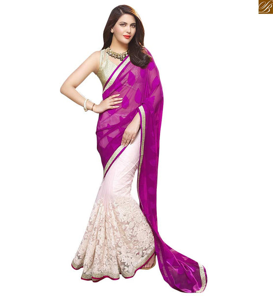 DESIGNER HALF SAREES ONLINE AND PRETTY  DESIGNER BLOUSE PATTERNS | EXCELLENT DESIGNER BLOUSE PATTERNS WITH DOUBLE V CUT, A SMART COMBINATION WITH GEORGETTE DESIGNER HALF AND HALF SAREE