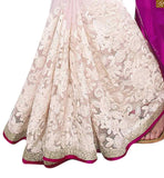 EXCELLENT DESIGNER BLOUSE PATTERNS WITH DOUBLE V CUT, A SMART COMBINATION WITH GEORGETTE DESIGNER HALF AND HALF SAREE