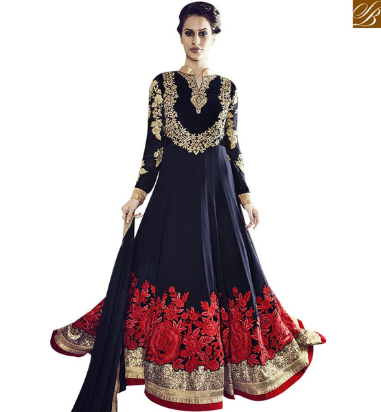 STYLISH BAZAAR ALLURING NAVY BLUE COLORED DESIGNER SUIT WITH BEAUTIFUL FLORAL WORK VDSKN10922
