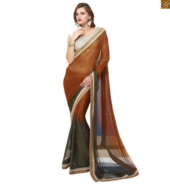 CHIFFON SAREE BLOUSE DESIGNS COMBINATION OF SHADED AND PRINT | EVER-STYLISH DESIGNER BLOUSE DESIGNS WITH BORDER AND TOP SELECTED FROM EMBROIDERED JACQUARD DESIGNER SAREES COLLECTION