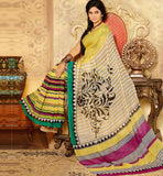 YELLOW & CREAM ART-SILK CASUAL WEAR SAREE RTMS10924