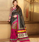 BLACK & PINK ART-SILK CASUAL WEAR ESHA DEOL SAREE RTMS10928