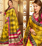 YELLOW ART-SILK CASUAL WEAR ESHA DEOL SAREE RTMS10932