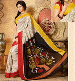 CREAM & BLACK ART-SILK CASUAL WEAR SAREE RTMS10933