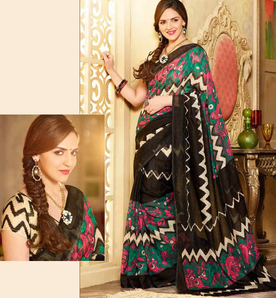 BLACK ART-SILK CASUAL WEAR ESHA DEOL SAREE RTMS10934