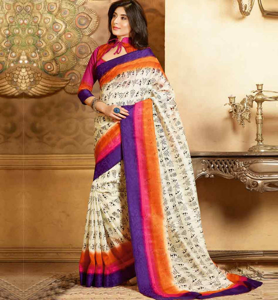 CREAM & PINK ART-SILK CASUAL WEAR SAREE RTMS10935