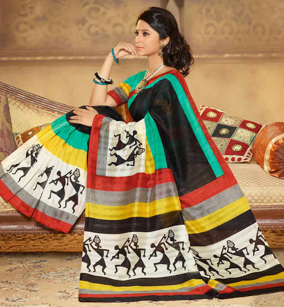 BLACK ART-SILK CASUAL WEAR SAREE RTMS10939