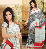 OFF WHITE & BLACK ART-SILK CASUAL WEAR SAREE RTMS10940