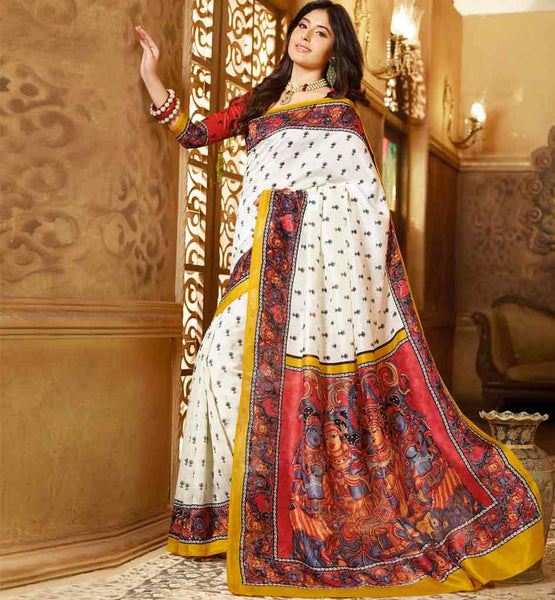 OFF WHITE ART-SILK CASUAL WEAR SAREE RTMS10942