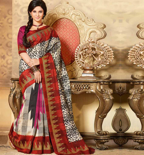 GREY & MAROON ART-SILK CASUAL WEAR SAREE RTMS10946