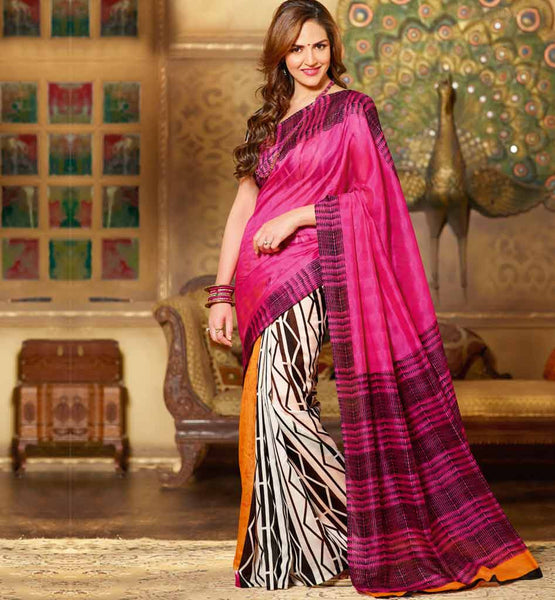PINK & OFF WHITE ART-SILK CASUAL WEAR ESHA DEOL SAREE RTMS10948